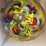 Rhondell One of a kind free form Platter signed by the artist. size 12x12